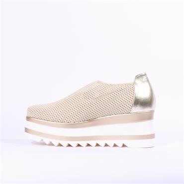 Marco Moreo Luna Fabric Slip On Platform - Cream Gold
