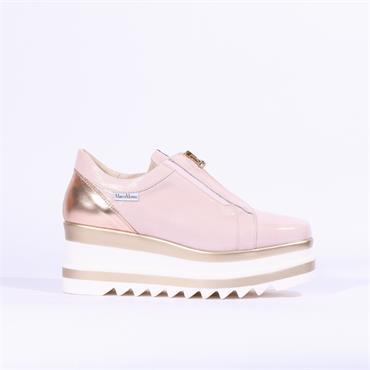Marco Moreo Luna Zip Front Platform Shoe - Baby Pink Patent