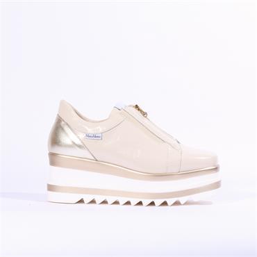 Marco Moreo Luna Zip Front Platform Shoe - Cream