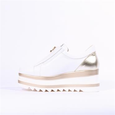 Marco Moreo Luna Zip Front Platform Shoe - White