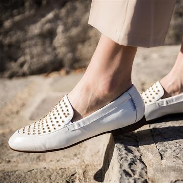 Marco Moreo Lisa Slip On Studded Loafer - White Leather