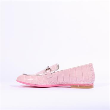 Marco Moreo Lisa Snake Print Loafer - Baby Pink Patent