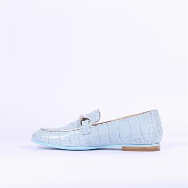 Marco Moreo Lisa Snake Print Loafer - Light Blue