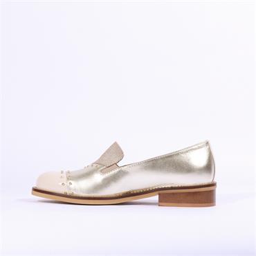 Marco Moreo Rebecca Two Tone Toe Cap - Cream Gold