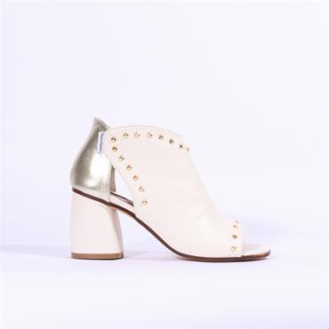 Marco Moreo Marta Block Heel Stud Sandal - Cream