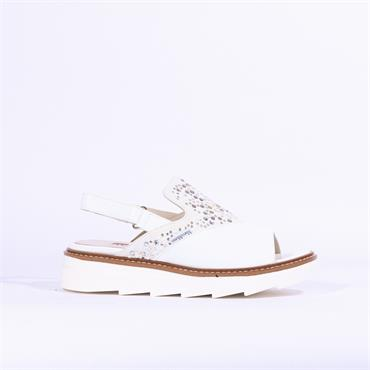 Marco Moreo Tina Sandal With Stud Pearls - White Leather