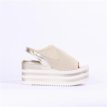 Marco Moreo Lara Fabric Sling Back - Cream Gold