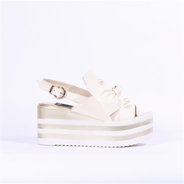 Marco Moreo Lara Platform Bow Sandal - Cream