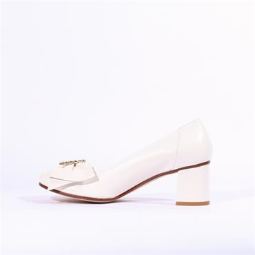 Marco Moreo Lucy Block Heel Bow Jewel - Cream