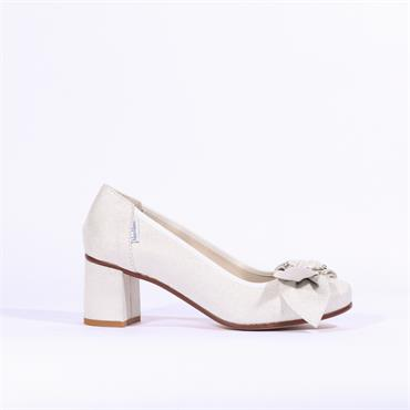 Marco Moreo Lucy Block Heel Bow Jewel - White Silver