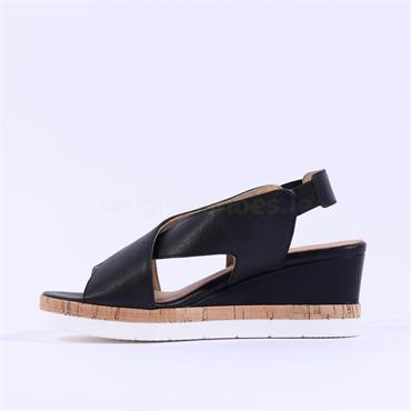 Igi & Co Ladies Asola Wedge Sandal - Black Leather