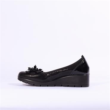 Inea Balmin Leather Wedge With Flower - Black Combi