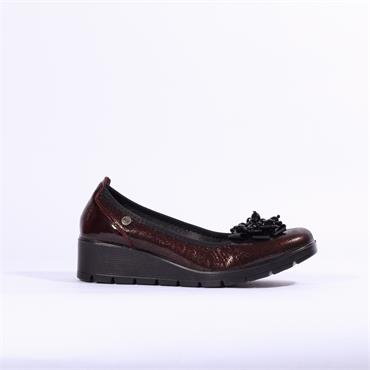 Inea Balmin Leather Wedge With Flower - Bordo