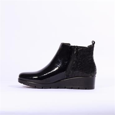 Inea Break Wedge Boot With Gusset - Black Pat Combi