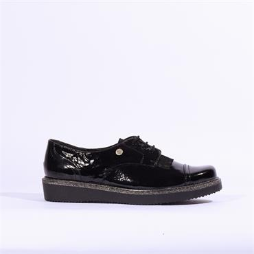 Inea Feline Laced Brogue - Black Patent