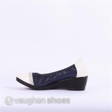 Inea Wedge Band Toe Cap Idole - Navy White