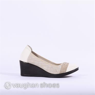 Inea Wedge Detail Band Toe Cap Isisir - Beige White