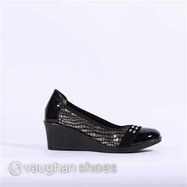 Inea Wedge Detail Band Toe Cap Isisir - Black Comb Snake
