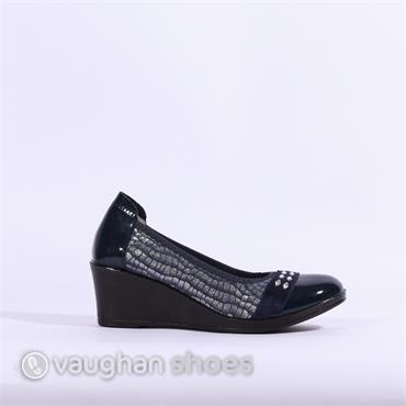 Inea Wedge Detail Band Toe Cap Isisir - Navy Combi