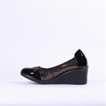 Inea Low Wedge Diamante Band Sagaie - Black Metallic
