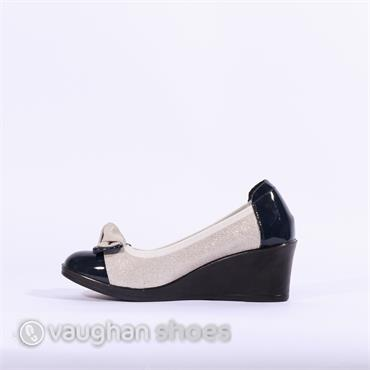 Inea Wedge Bow Detail Serena - Navy White