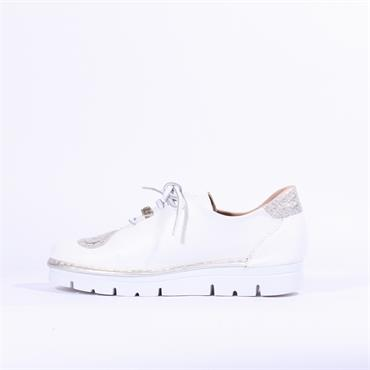 Jose Saenz Weave Lace Up Shoe Irene - White Silver