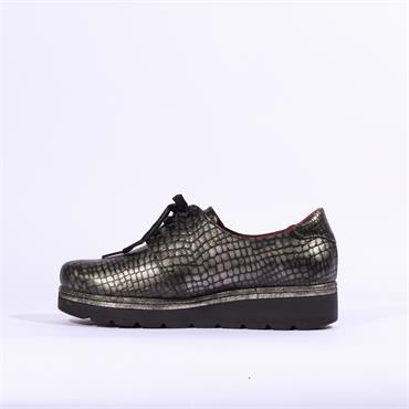 Jose Saenz Croc Plaform Lace Up Shoe - Silver Metallic