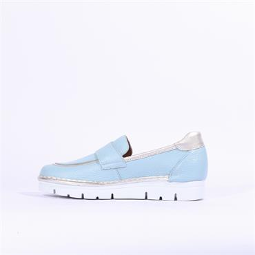 Jose Saenz Slip On Shoe With Buckle - Blue Silver