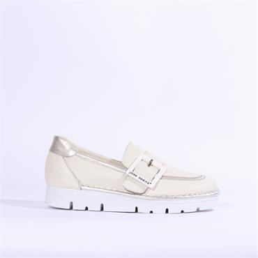 Jose Saenz Slip On Shoe With Buckle - Cream