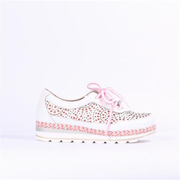 Jose Saenz Dot Perforated Shoe Bety - White Coral