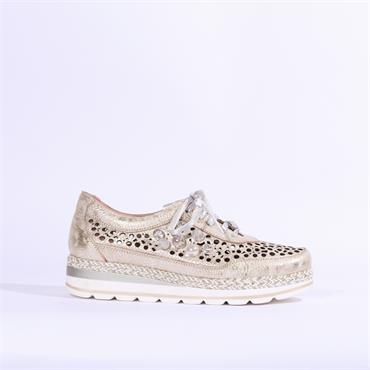 Jose Saenz Perforated Pearl Laced Shoe - Champagne