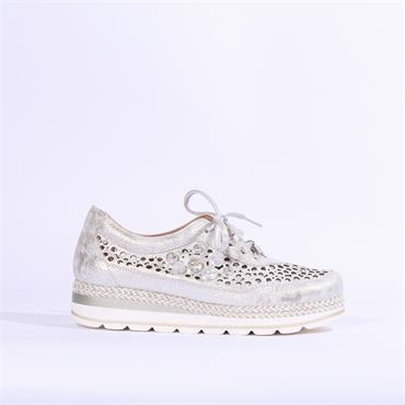 Jose Saenz Perforated Pearl Laced Shoe - Silver