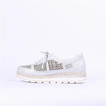 Jose Saenz Perforated Wedge Shoe Bety - Silver Grey