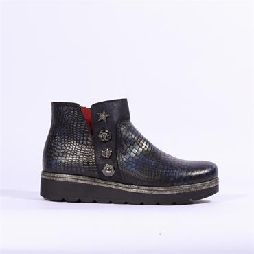 Jose Saenz Snake Boot With Jewel Detail - Navy
