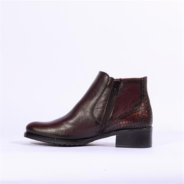 Jose Saenz Ankle Boot With Snake Heel - Maroon