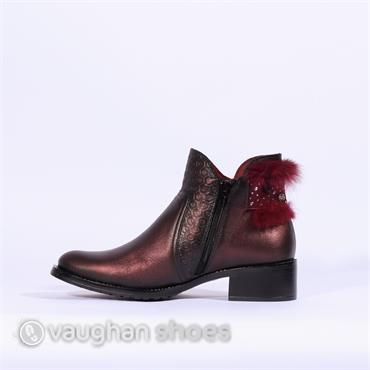 Jose Saenz Low Heel Boot Fur Heel - Wine