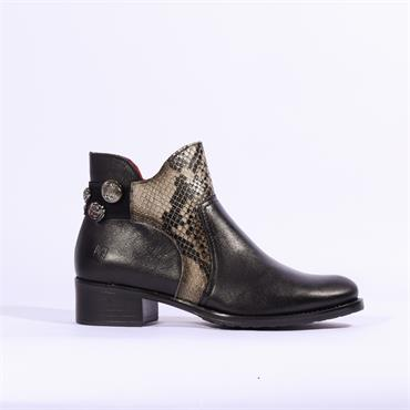 Jose Saenz Boot With Jewel Heel - Black Combi