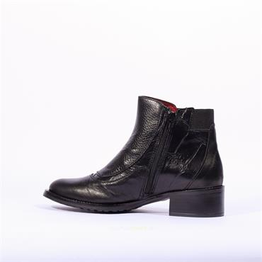 Jose Saenz Stud Croc Print Boot Amazona - Black Leather