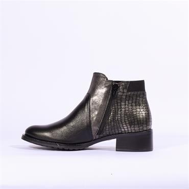 Jose Saenz Flat Multi Tone Boot Side Zip - Black Metallic