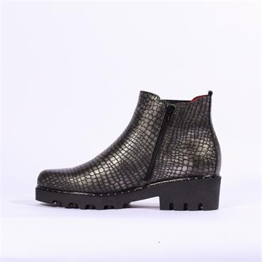 Jose Saenz Low Heel Boot Detailed Gusset - Silver Leather