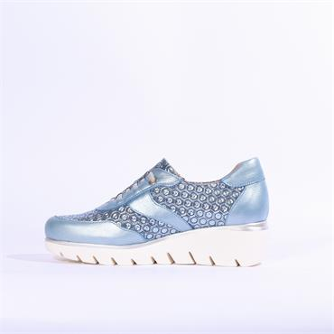 Jose Saenz Leyre Wedge Lace Shoe - Light Blue Combi