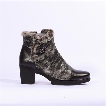 Jose Saenz Boot With Fur Trim - Black Metallic