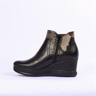 Jose Saenz Wedge Boot With Gusset - Black Combi