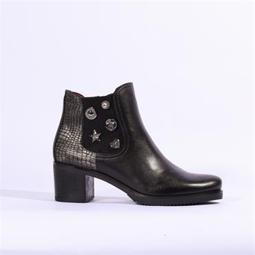 Jose Saenz Boot With Detailed Gusset - Black Combi Lea