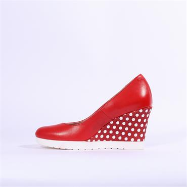 Jose Saenz Higher Wedge With Detail Heel - Red White