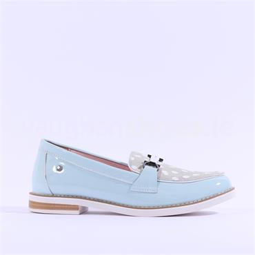 Kate Appleby Anguilla Polka Dot Loafer - Light Blue Leather