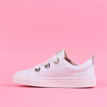 Kate Appleby Beacon Ribbon Lace Trainer - White Leather