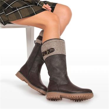 Keddo Chunky Sole Mid Calf Boot - Brown Combination