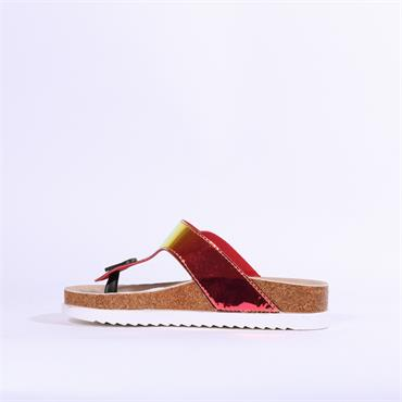 Keddo Mule Sandal Single Strap - Red Metallic Combi