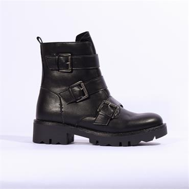 Keddo Tri Buckle Biker Boot - Black